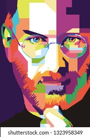 Surabaya, Indobesia - February 26 2019 : Steve Jobs in wpap art