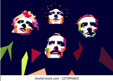 Surabaya indonesia, december 12, 2018 :potrait queen band on color pop art style isolated.