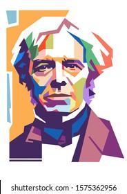 Surabaya Indonesia Desember 1-2019: WPAP style, isolated style, illustration pop art portrait of Michael Faraday