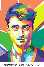 Surabaya, Indonesia - February 25 2019 : Daniel Radcliffe in wpap art