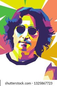 Surabaya, Indonesia - February 28 2019 : John Lennon from Beatles in wpap