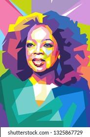 Surabaya, Indonesia - February 28 2019 : Oprah Winfrey in wpap art