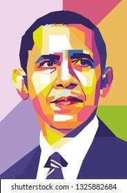 Surabaya, Indonesia - February 28 2019 : Barack Obama in wpap