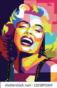 Surabaya, Indonesia - February 28 2019 : Marilyn Monroe beautiful women in wpap