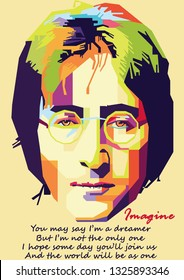 Surabaya, Indonesia - February 28 2019 : John Lennon in wpap with Imagine lyric