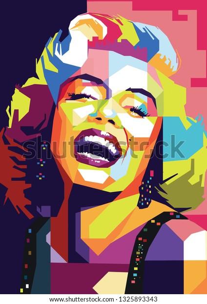 Surabaya, Indonesia - February 28 2019 : Marilyn Monroe beautiful women in wpap