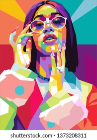 Surakarta indonesia, april 18,2019 : potrait of Cardi B, pop art illustration.