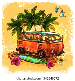 Surf or hippy style vintage old bus with surfboard flowers and palm sketch color concept  illustration