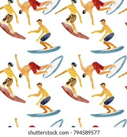 Surf pattern. Surfing seamless background. Watercolor background.