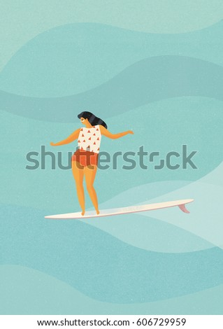 Surf poster with surfer girl on surfboard