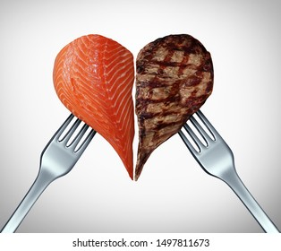 Surf and turf concept as meat And seafood or steak and salmon symbol as a gourmet meal at a restaurant serving fish cuts of beef with 3D illustration elements.