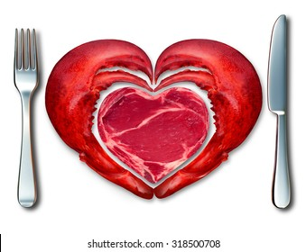 Surf and turf fine dining symbol and the love of meat and seafood as a steak and lobster in a place setting with a fork and knife shaped as a heart on a white background.