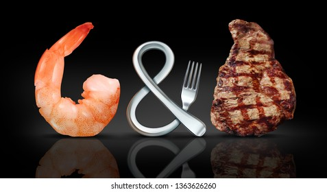 Surf and turf food as seafood and steak meal concept as a fork shaped as a symbol on a black background with 3D illustration elements.