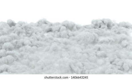 Surface of clouds on white background 3d render