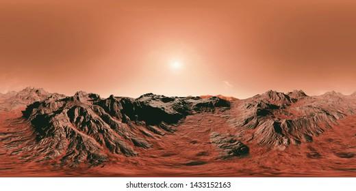 surface of planet Mars, 8K HDRI map, spherical environment panorama background, light source illustration (3d equirectangular rendering)