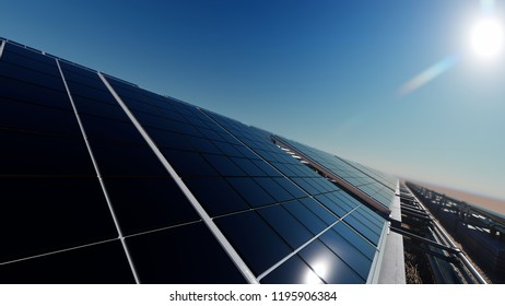 Surface of Solar Panel with Selective Focus 3d rendering