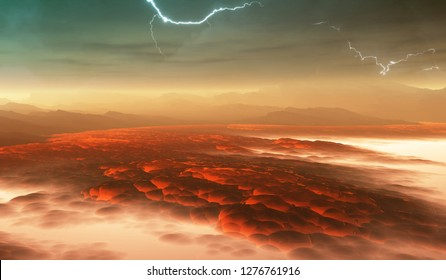 Surface of Venus. Hot lava flows on Venus. 3d illustration