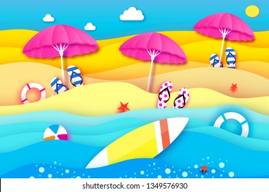 Surfboard. Pink parasol - umbrella in paper cut style. Origami sea and beach with lifebuoy. Surf. Sport ball game. Flipflops shoes. Vacation and travel concept. Summertime.