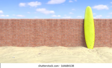 Surfboard Standing Up Against a Brick Wall at the Beach