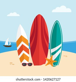Surfboards on a beach on seascape background. Vector illustration
