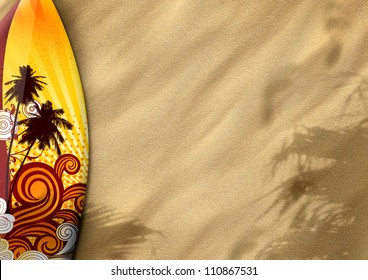 surfboards on sand color background with space