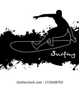 surfer among splashes  illustration in grunge style