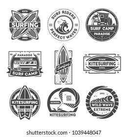 Surfing camp vintage isolated label set illustration. Kitesurfing school symbol. Wild wave icon. Surf riders logo. Extreme and fun water recreation. Surfboard, kite, van, surfer sign.