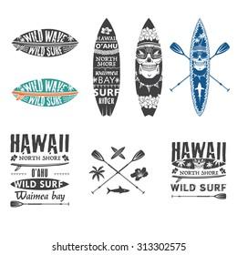 Surfing emblem set with hawaiian lei, surfboard, shark teeth, shark, skull and paddle.