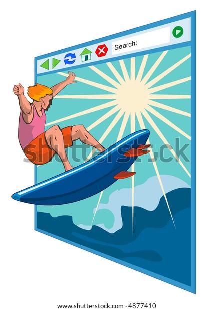 Surfing Internet Surfer Dude Stock Illustration 4877410