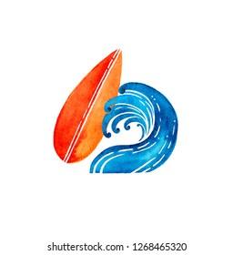Surfing Logo Design. Surfboard And Wave. Watercolor Raster Illustration.