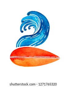 Surfing logo hand drawn in watercolor technique. Surfboard and wave illustration. Can be printed on a t-shirt, postcards, books images, etc - Illustration