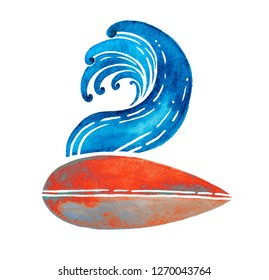 Surfing logo in vintage style. Surfboard and wave watercolor hand drawn illustration. Can be printed on a t-shirt, postcards, books images, etc