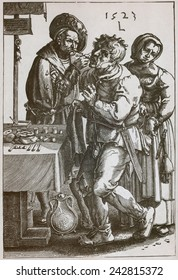 The Surgeon Dentist, pulls a man's tooth while a women picks the patient's pocket. 1523 engraving after a painting by Lucas van Leyden (1494-1533).