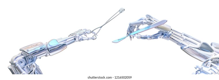 Surgeon robot hands holding surgery tools, scalpel and forceps. Future robotic surgery concept. Clipping path included. Robotic technology 3D illustration