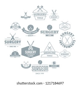 Surgery tools logo icons set. Simple illustration of 16 surgery tools logo icons for web