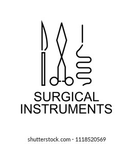 surgical instruments line icon. Element of medicine icon with name for mobile concept and web apps. Thin line surgical instruments icon can be used for web and mobile on white background