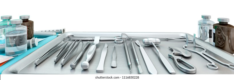 Surgical instruments, medicines in modern operating room, isolated.  3D illustration.