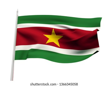 Suriname flag floating in the wind with a White sky background. 3D illustration.