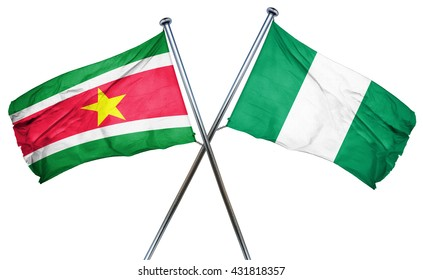Suriname flag with Nigeria flag, 3D rendering
