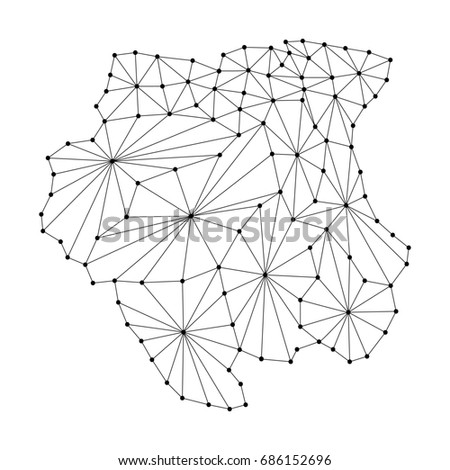 Royalty Free Stock Illustration Of Suriname Map Polygonal Mosaic