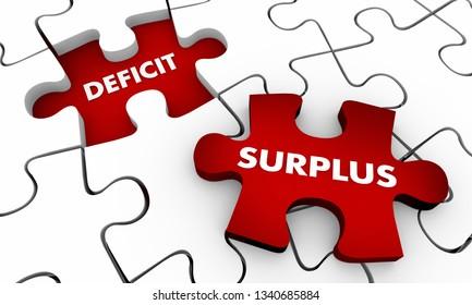 Surplus Vs Deficit Puzzle Pieces 3d Illustration