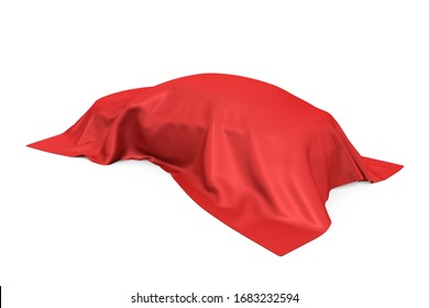 Surprise, Award or Prize Concept. Hidden Sedan Car Covered with White Silk Cloth on a white background. 3d Rendering