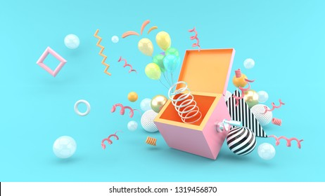 A surprise box surrounded by balloons and ribbon on a blue background.-3d rendering.