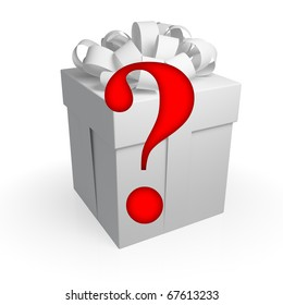 Surprise concept. Gift box with question sign isolated on white.3d rendered.