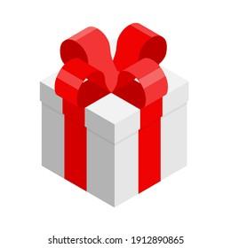 Surprise gift box. raster. Isometric view