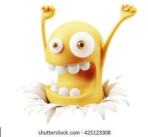 Surprise Happy Breaking Paper Emoticon Face Raising Hands 3d Rendering.