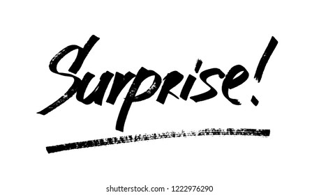 Surprise - Modern calligraphy, hand drawn marker pen lettering