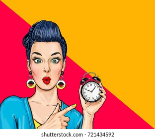 Surprised comic woman with clock. Time management trainer will teach you how to be more effective.