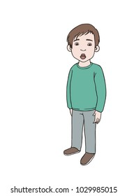 Surprised little boy standing with open mouth. Illustration of a boy isolated on white.