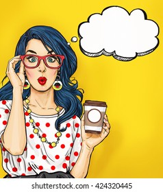 Surprised Pop Art woman in hipster glasses with coffee cup. Advertising poster or party invitation with sexy girl with wow face in comic style.